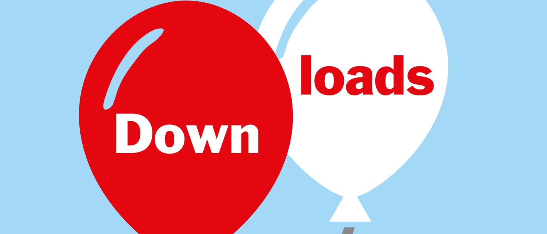 Bild: weißer und roter Luftballon mit Schriftzug Downloads