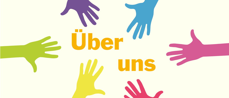Bild: bunte Hände mit Schriftzug über uns