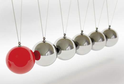 Bild: Pendel mit roter und silbernen Kugeln