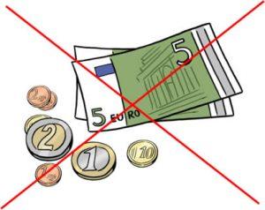 Bild: Geldscheine und Münzgeld durchgestrichen