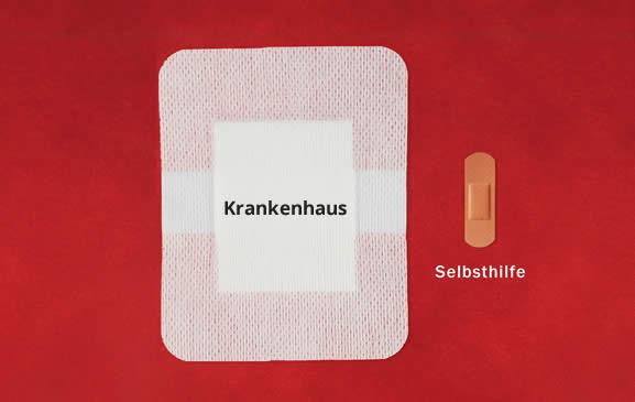 Bild: Zwei Pflaster mit der Schrift Krankenhaus und Selbsthilfe