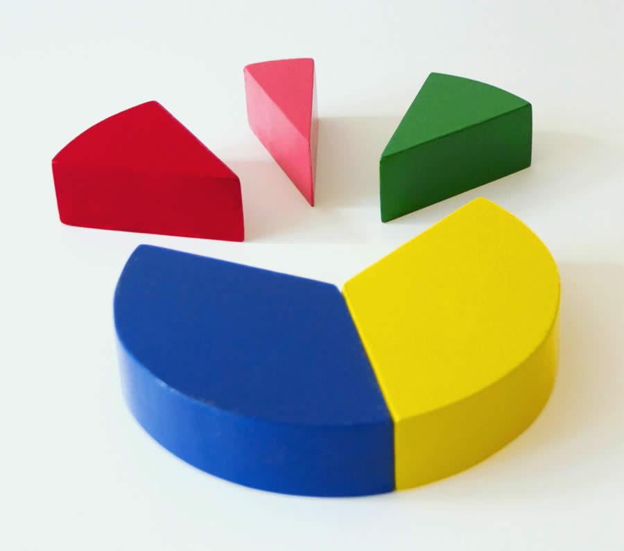 Bild: Kreisdiagramm aus bunten Bauklötzen