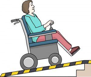 Bild: Rampe mit Rollstuhlfahrerin