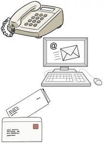 Bild: Telefon und Email und Brief