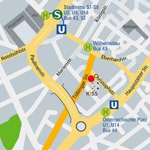 Stadtplan mit Kiss Geschäftstelle