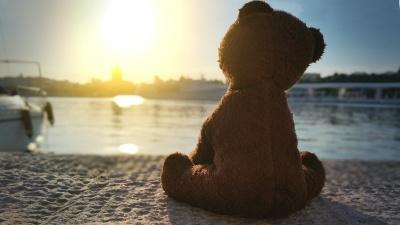 Bild: Teddybär sitzt an Wasser