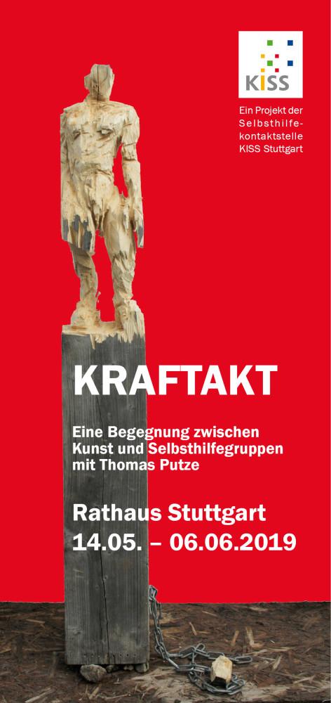 Bild: Holzskulptur zur Ausstellung KRAFTAKT