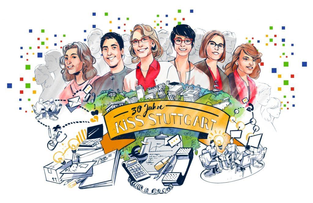 Bild: Zeichnung der KISS-Mitarbeiter im Comic-Stil