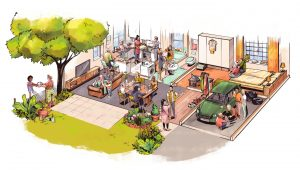 Bild: Zeichnung Wohnung mit Bewohnern als Symbol für Selbsthilfegruppen