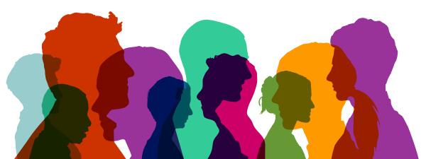 Bild: Gruppe von Köpfen in verschiedenen bunten Farben als Team