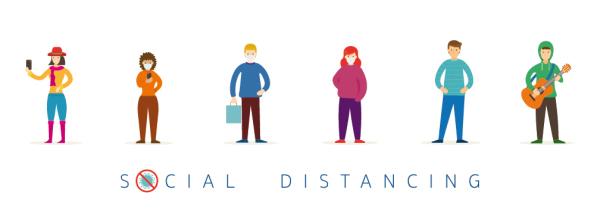 Bild: Zeichnung unterschiedliche Menschen halten Distanz zueiander