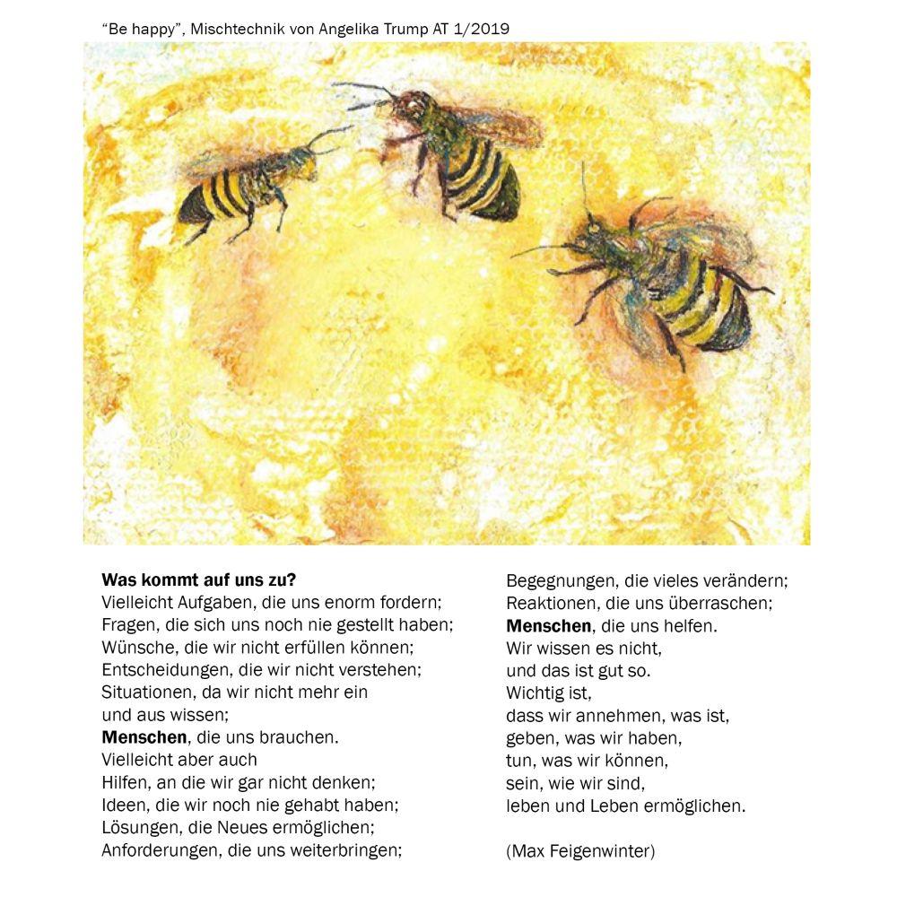 Bild: gemalte Bienen mit Gedicht
