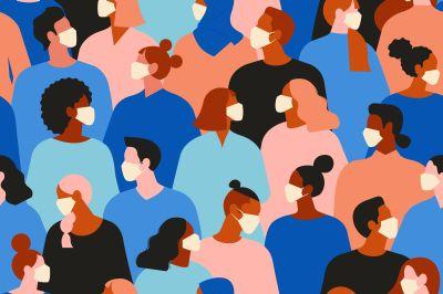Bild: Menschen mit Mundschutz