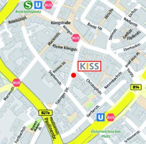 Bild: Ausschnitt Stadtplan mit Lage der KISS