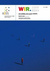 Bild: Cover WIR-Magazin, einzelne Menschen stehen weit voneinander entfernt