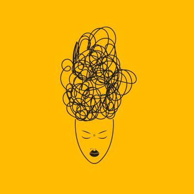 Bild: Frau mit Gewirr im Kopf