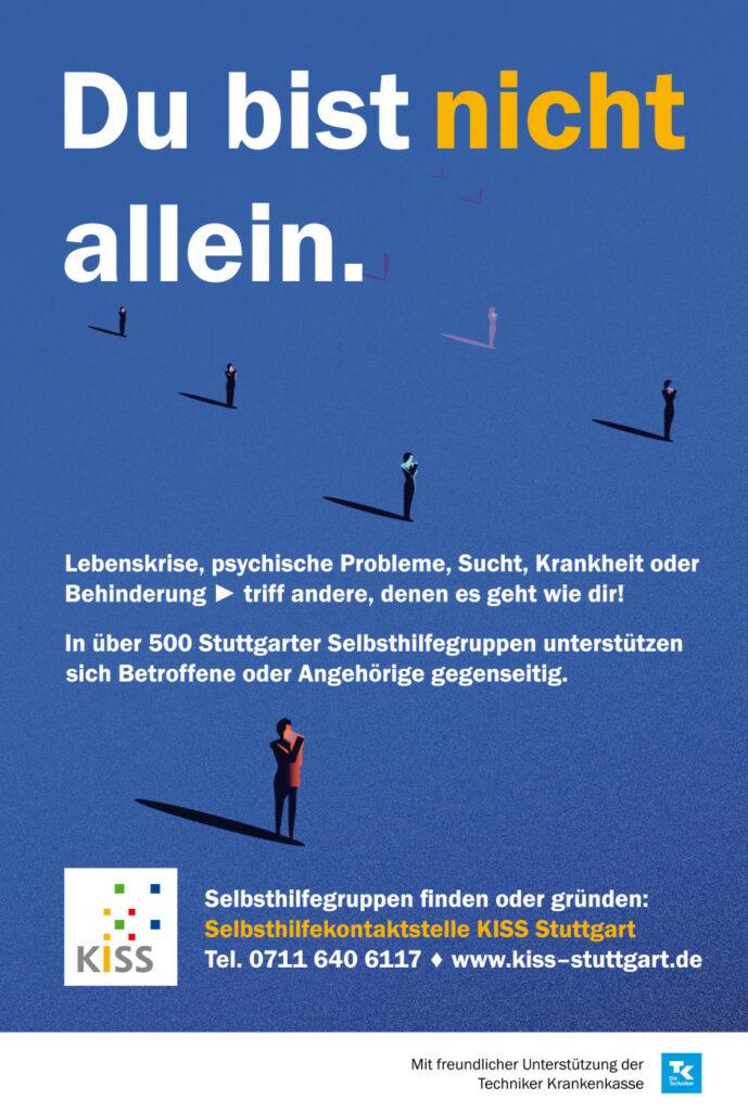 """Bild: Poster mit vereinzelten Menschen und dem Schriftzug """"du bist nicht allein"""""""