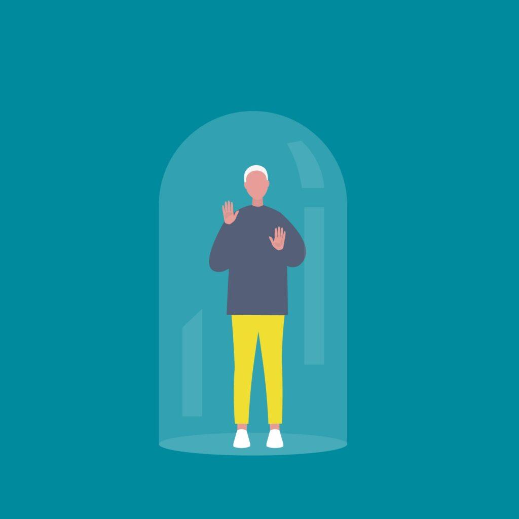 Bild: Mensch in einer Glaskuppel