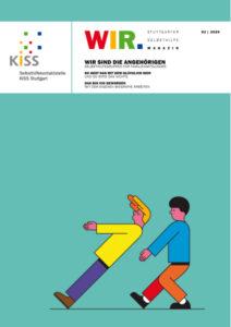 Bild: Titelseite WIR Magazin Ausgabe 2-2020 mit Comicfiguren, einer lässt sich nach hinten fallen, einer fängt auf