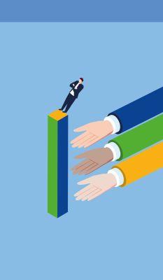 Bild: Mensch lässt sich in große Hände fallen