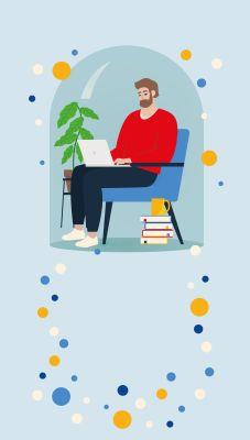 Bild: Mensch sitzt unter einer Glaskugel