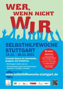 Bild: Plakat zur Selbsthilfewoche, Menschen halten das Wort WIR hoch