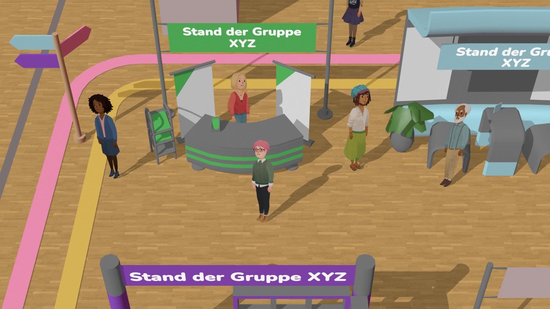 Bild: Selbsthilfewoche als grafische Darstellung mit Menschen und Infoständen in einem virtuellen Veranstaltungssaal