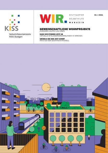 Bild: Titelseite WIR Magazin 01-2021 mit Zeichnung einer Häuserlandschaft im Zentrum einer Großstadt